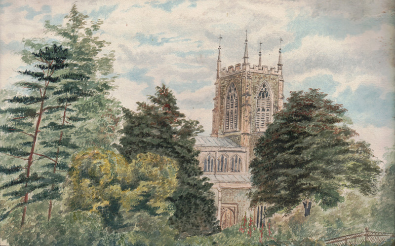 Halton Holgate Church from Rectory Garden, 1868 (Watercolour by Catherine Rawnsley)