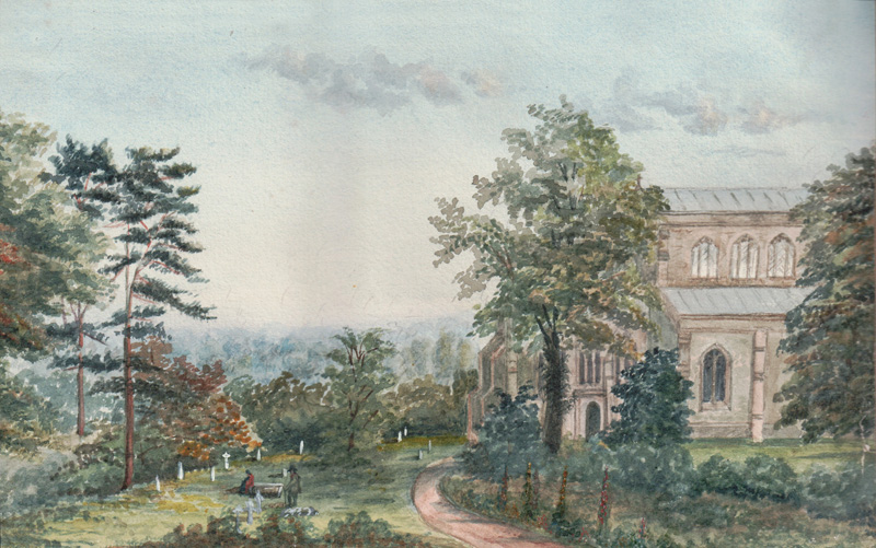Halton Holgate Church from Rectory Garden, n.d. (Watercolour by Catherine Rawnsley)
