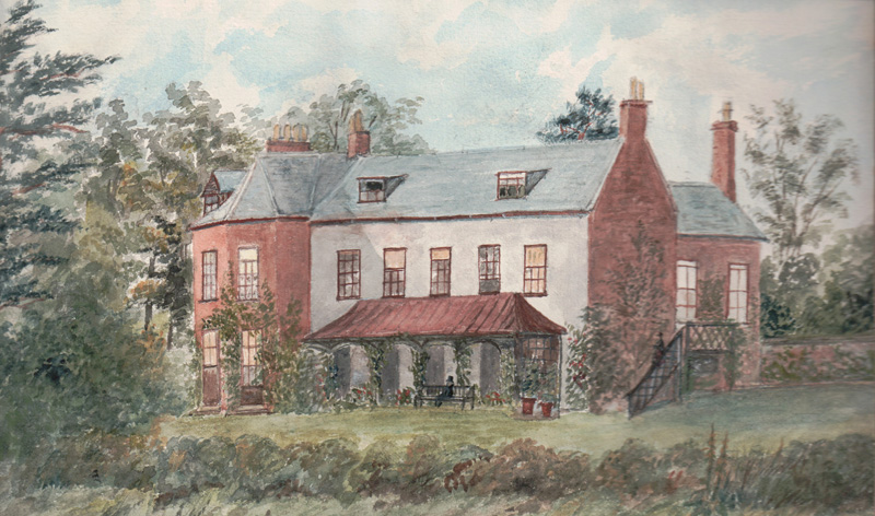 Halton Holgate Rectory, 1882 - The Year We Left Halton (Watercolour by Catherine Rawnsley)